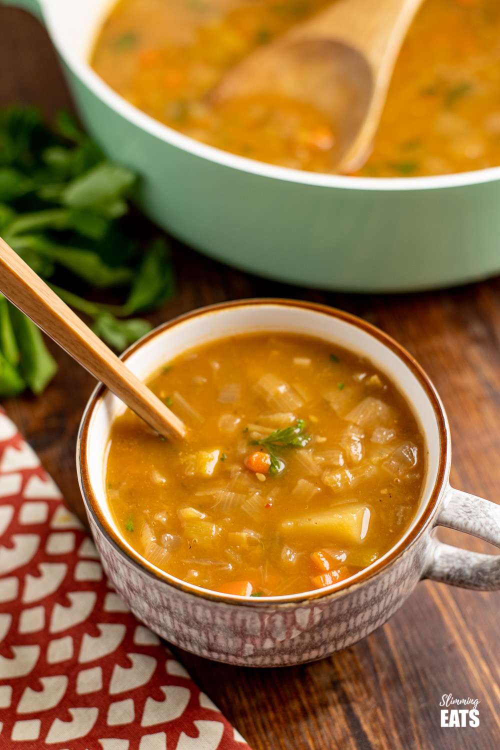 hearty vegetable soup in soup cup with spoon