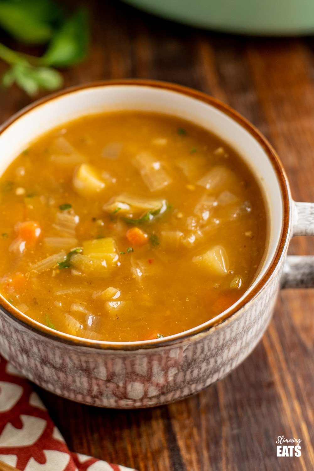 close up of hearty vegetable soup in soup cup