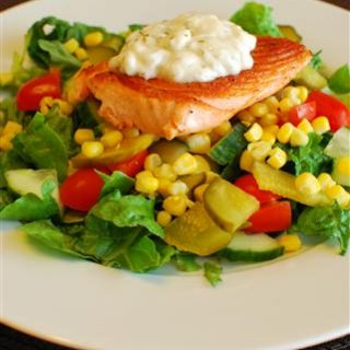 Pan Fried Salmon with Lemon Mayonnaise on a bed of Mixed Salad