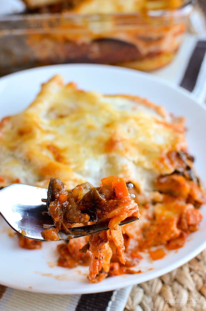 Slimming Eats Low Syn (Eggplant) Aubergine Lasagne - gluten free, vegetarian, Slimming World and Weight Watchers friendly