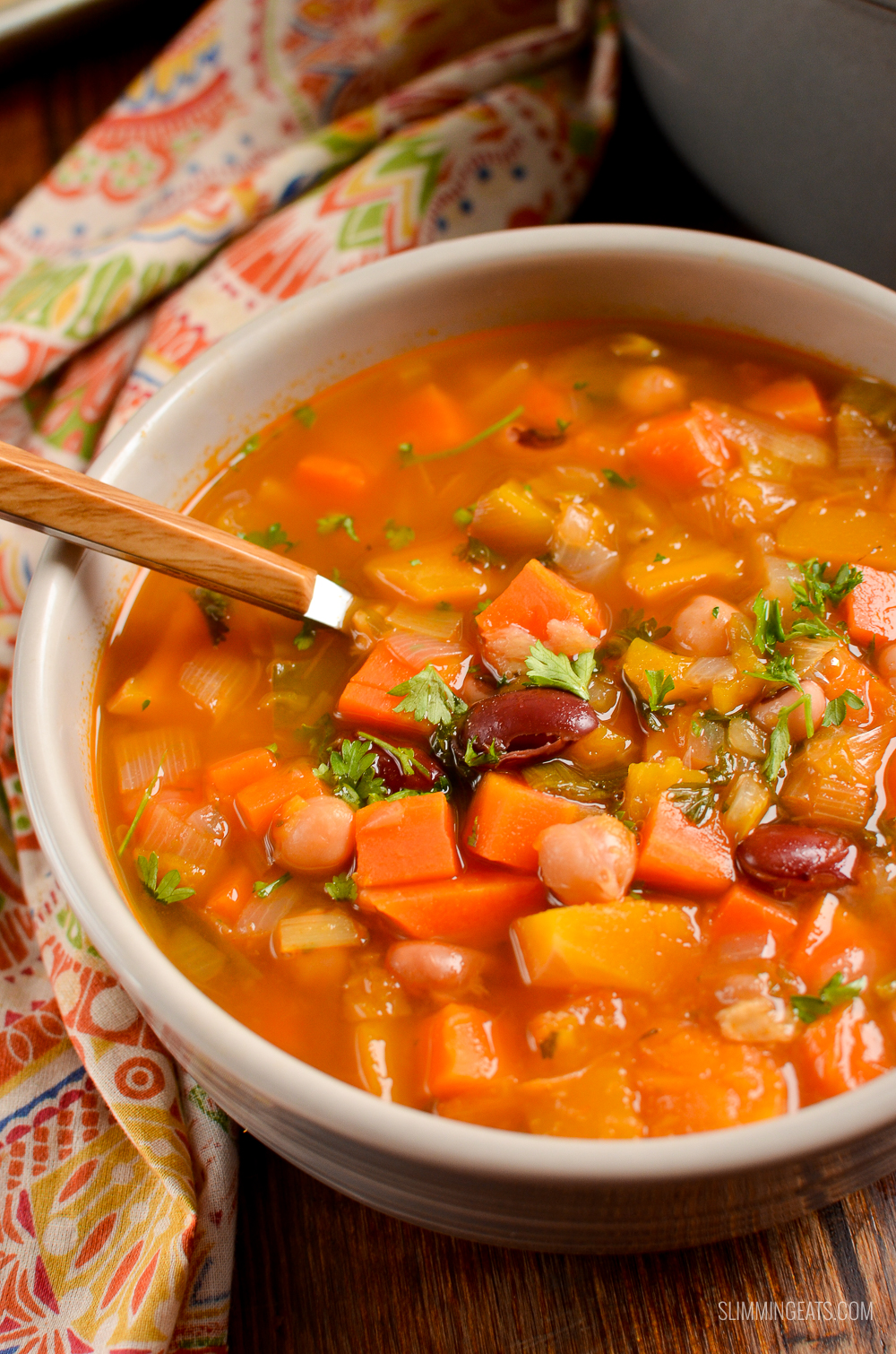 close up of vegetable and bean stew in bowl