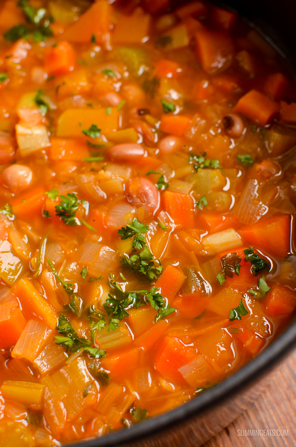 close up of vegetable and bean stew in cast iron pot