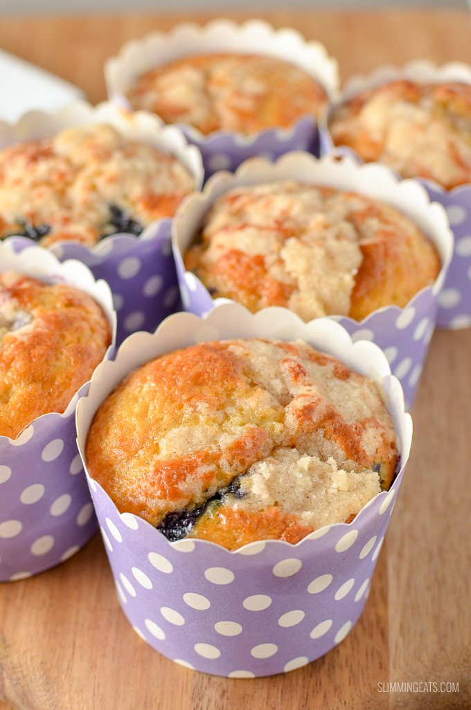 There is nothing better than a low syn cake to enjoy with a cuppa, and these moist delicious Blueberry Muffins are the perfect treat.  | vegetarian, Slimming World and Weight Watchers friendly