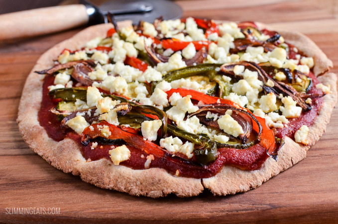 Slimming Eats Roasted Vegetable Feta Pizza - gluten free, vegetarian, Slimming World and Weight Watchers friendly
