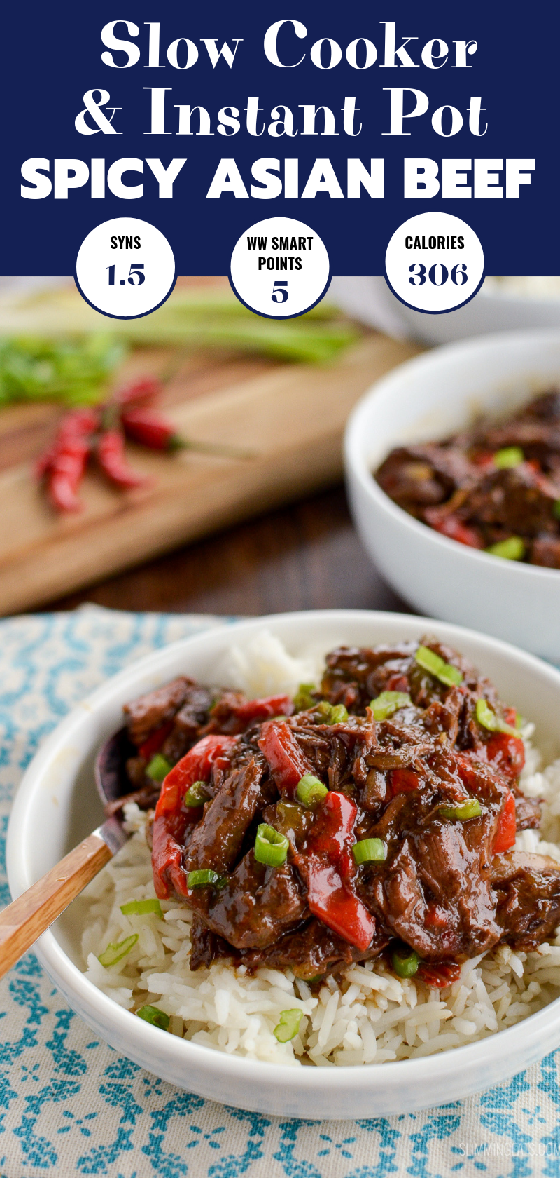slow cooker spicy Asian Beef pin image