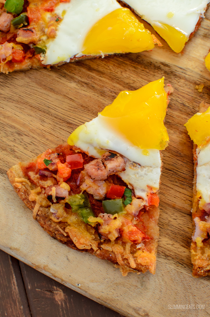 Pizza is not just for Dinner - Try my Syn Free Breakfast Hash Brown Pizza - a crispy golden hash brown base with all your favourite breakfast toppings. Gluten Free, Vegetarian, Slimming World and Weight Watchers friendly.   www.slimmingeats.com
