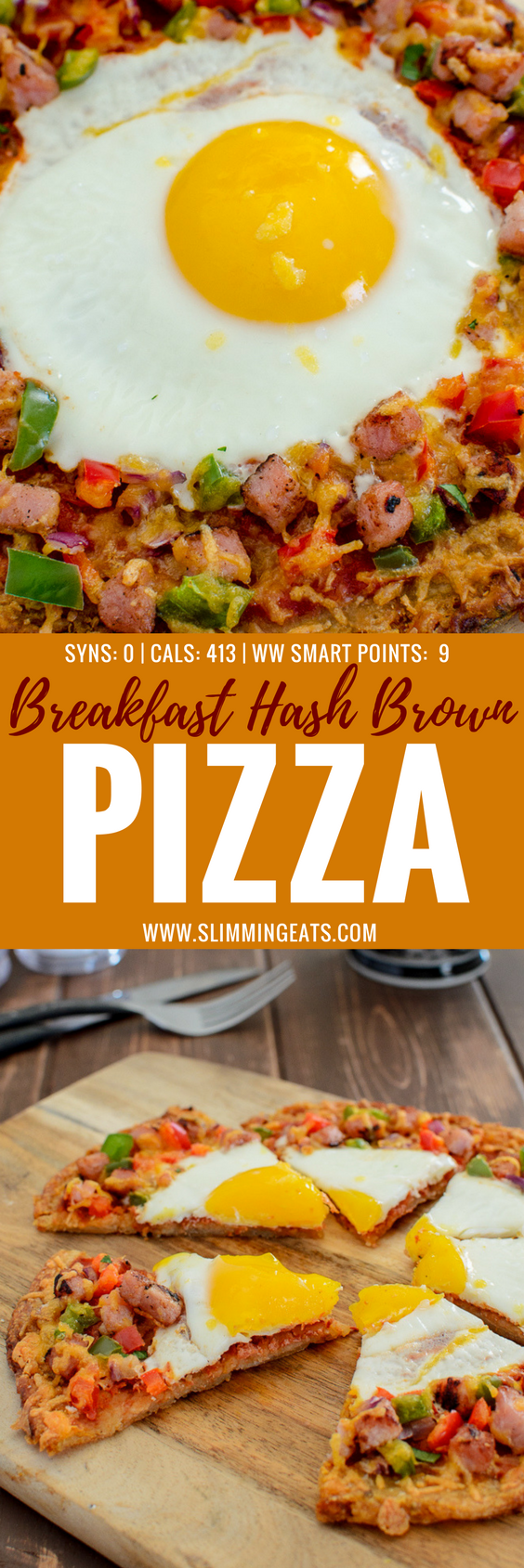 Pizza is not just for Dinner - Try my Syn Free Breakfast Hash Brown Pizza - a crispy golden hash brown base with all your favourite breakfast toppings. Gluten Free, Vegetarian, Slimming World and Weight Watchers friendly.