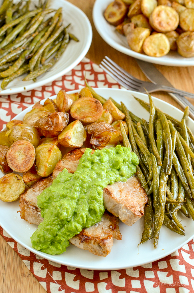 Tender Pork Chops with Creamy Mashed English Peas perfect served alongside some roasted baby potatoes and garlic green beans. | gluten free, Slimming World and Weight Watchers friendly