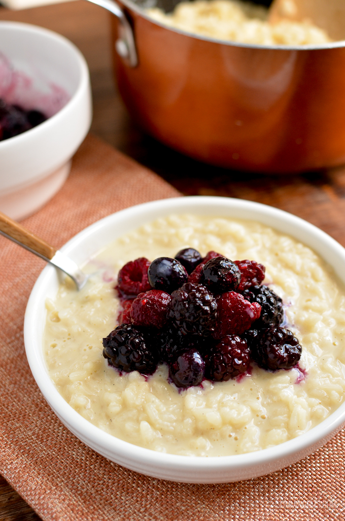 Enjoy a comforting bowl of this low syn Creamy Vanilla Rice Pudding with Mixed Berries which can be cooked stove top or in a pressure cooker   gluten free, vegetarian, Slimming World and Weight Watchers friendly
