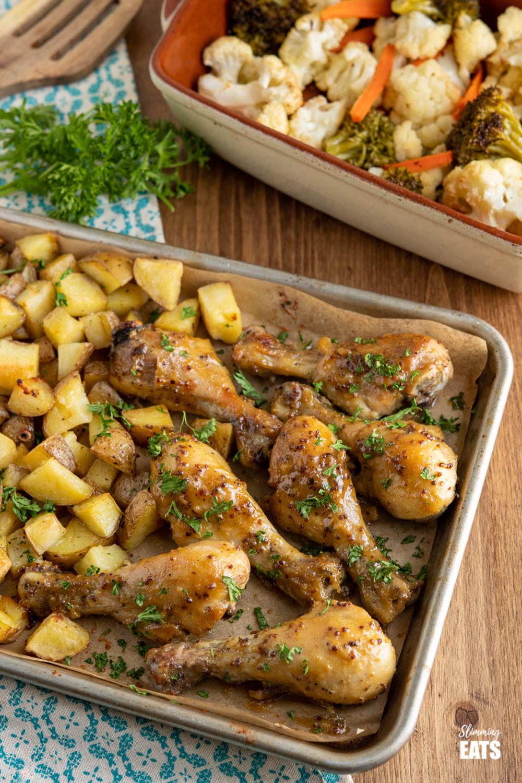 honey mustard chicken drumsticks with Yukon gold potatoes tray bake