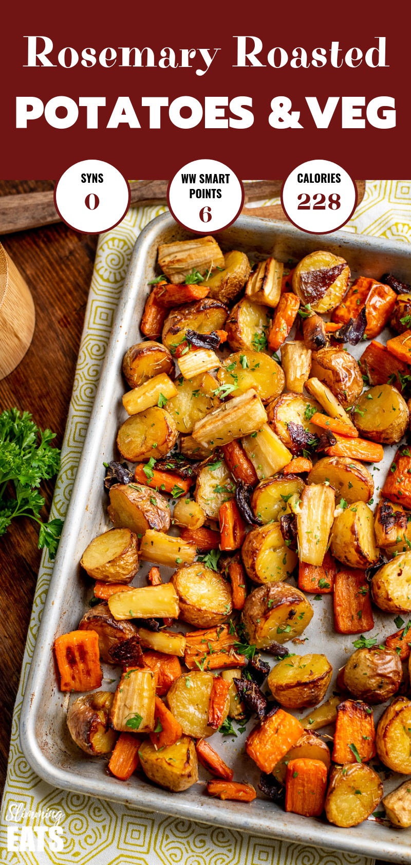 Rosemary Roasted Potatoes, Parsnips, Carrots and Onion on metal baking tray pin