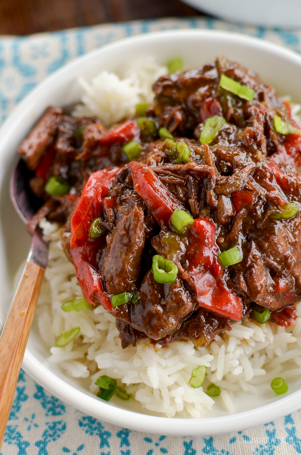 close up of slow cooked spicy asian beef with rice in white bowl with wooden handle spoon