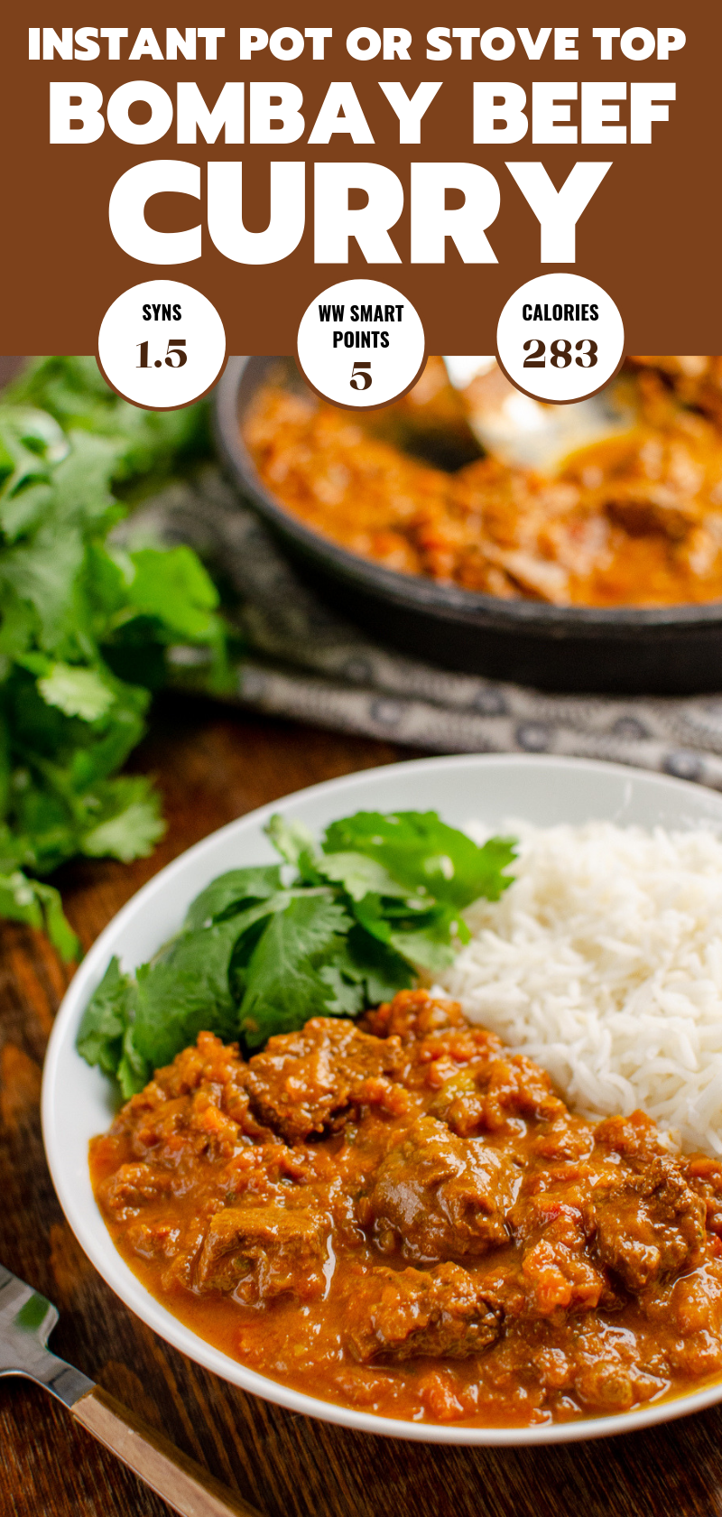 Bombay beef curry in white bowl with rice and coriander, pan visible in background pin