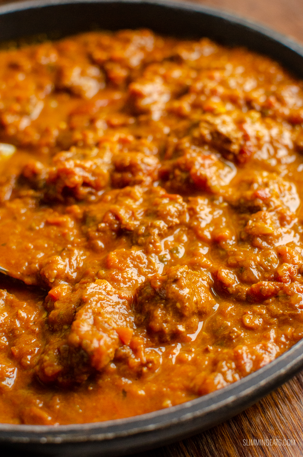 close up of Bombay beef curry in pan