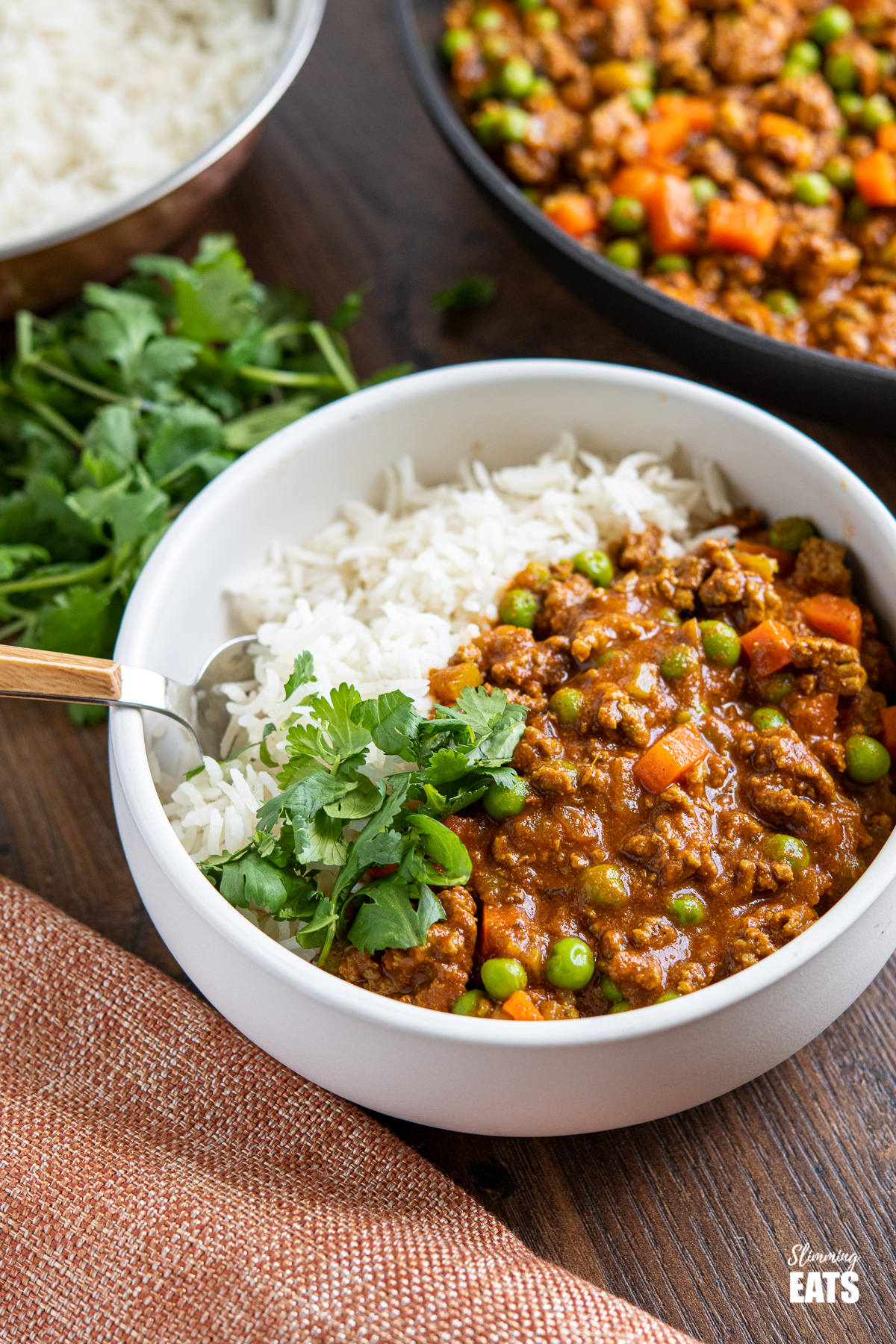 Easy Keema Curry in white bowl with rice and coriander