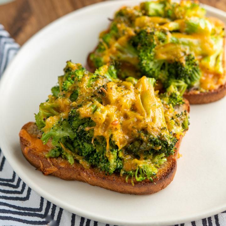 Cheesy Broccoli Avocado Toasts