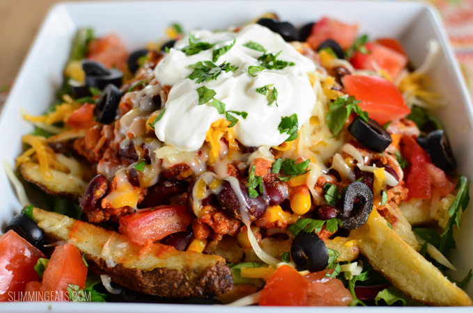 Slimming Eats Chilli Cheese Fries - gluten free, vegetarian, Slimming World and Weight Watchers friendly