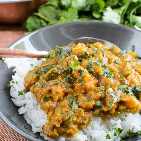 Aubergine Courgette Sweet Potato And Lentil Curry