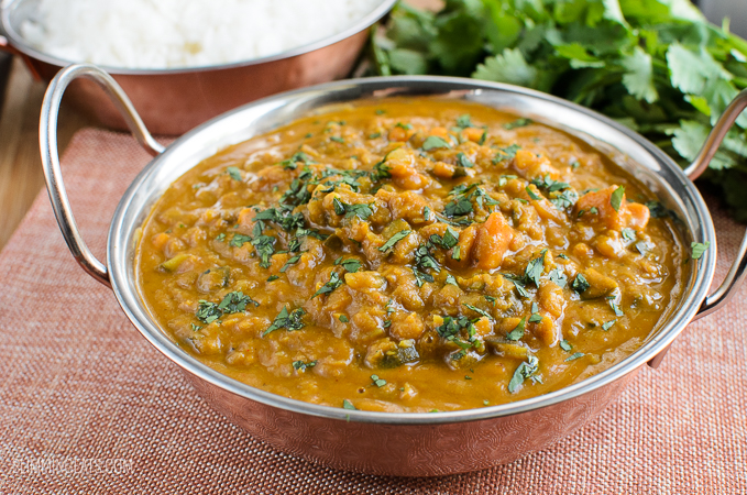 Slimming Eats Low Syn Aubergine, Courgette, Sweet Potato and Lentil Curry - gluten free, dairy free, vegetarian, Slimming World and Weight Watchers friendly - just 2 syns per serving