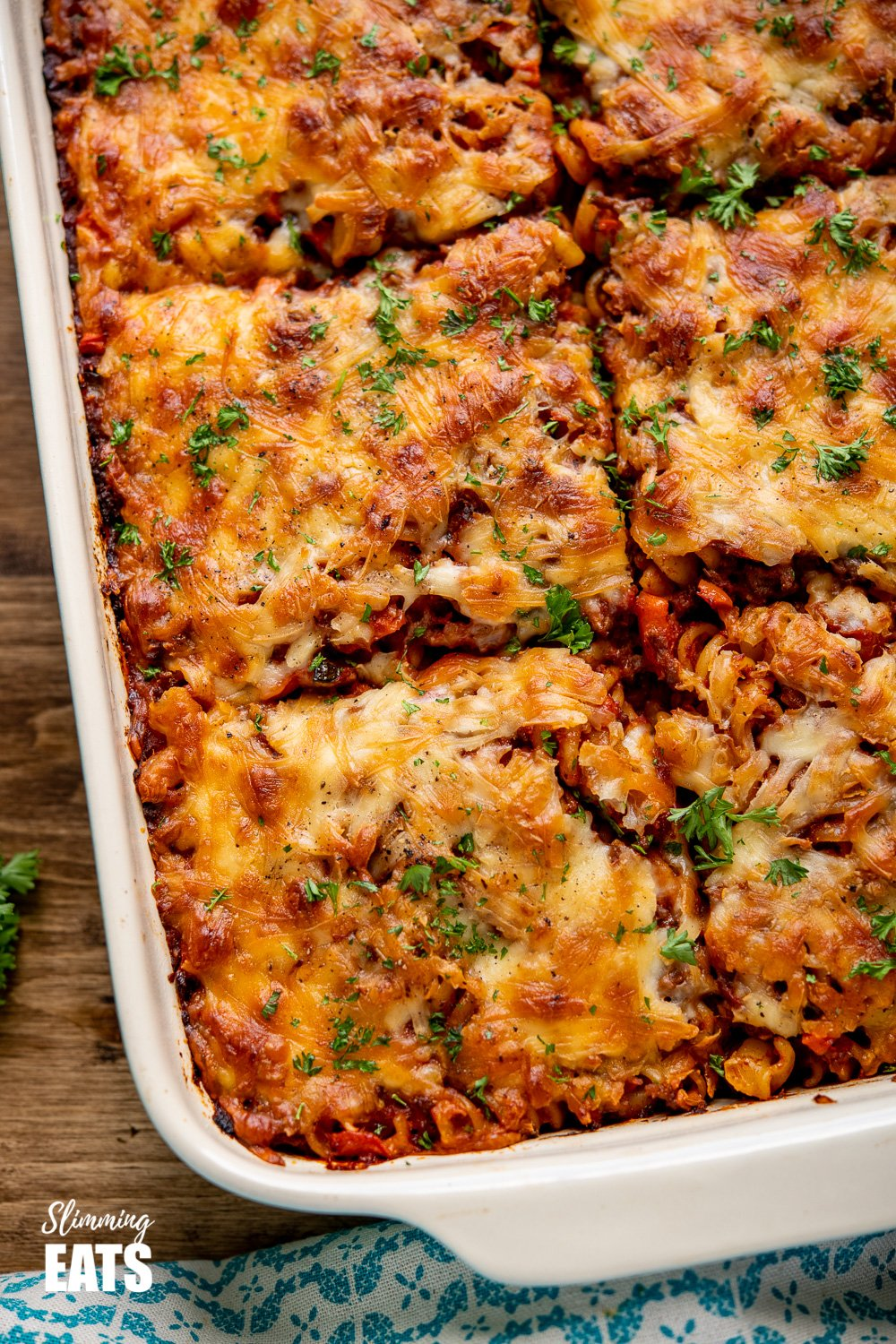 close up of sliced Syn Free Bolognese Pasta Bake