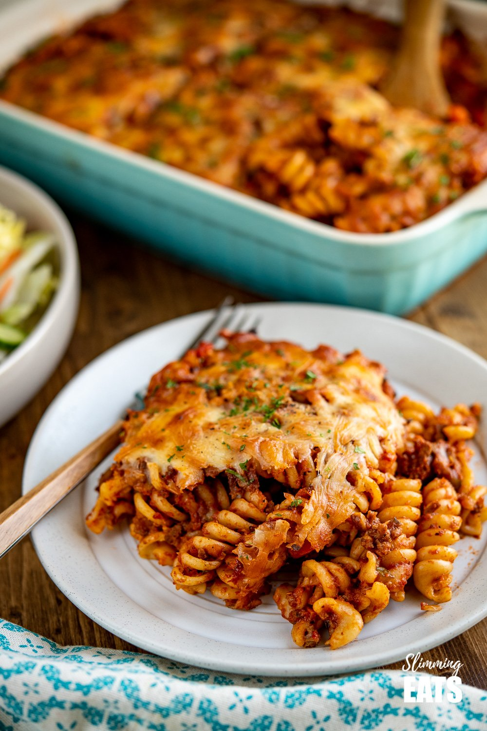 plated up serving of Syn Free Bolognese Pasta Bake on cream plate