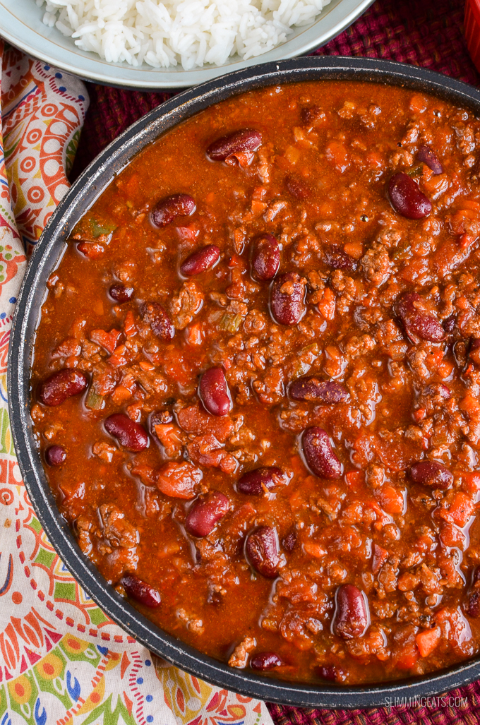 Close up of Chilli Con Carne in pan