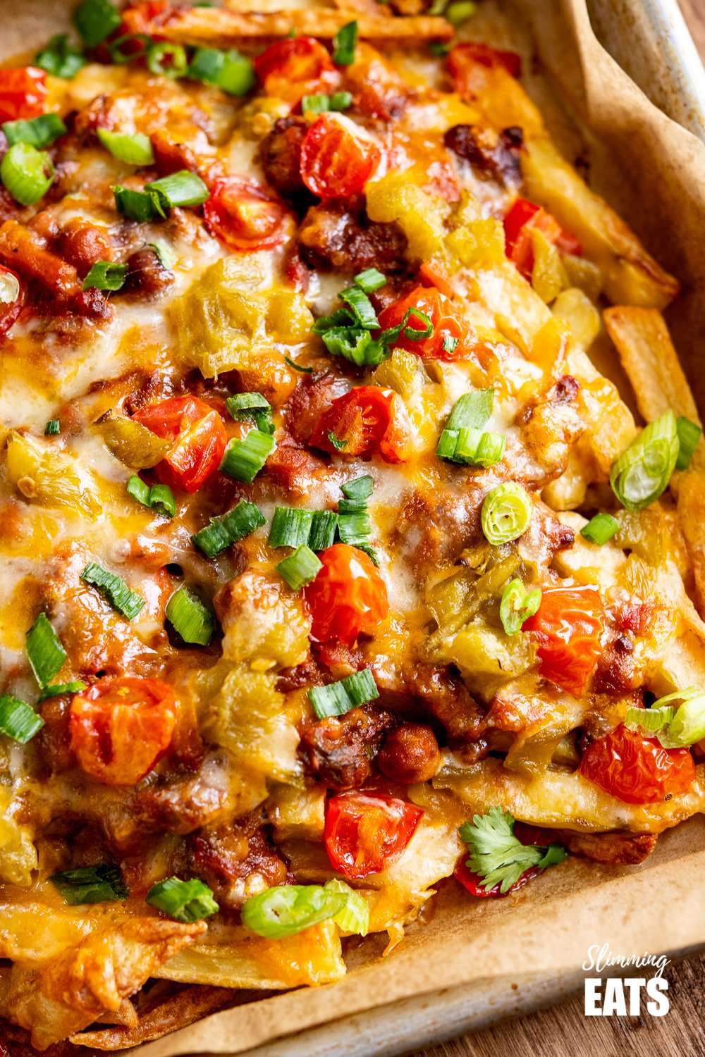 close up of Layered Chilli Cheese Fries
