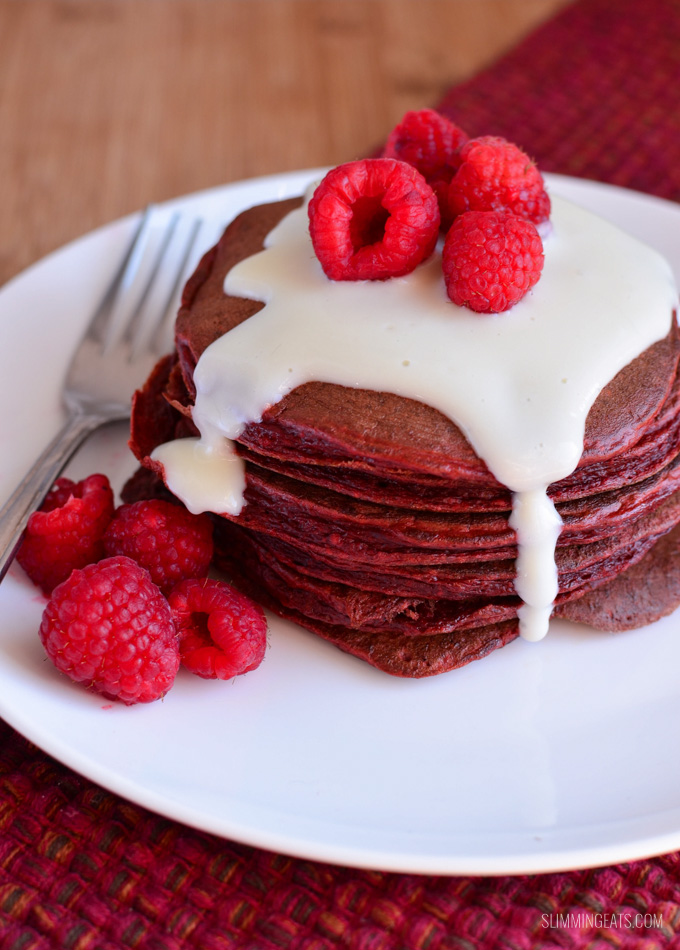 Slimming Eats Red Velvet Pancakes - gluten free, vegetarian, Slimming World and Weight Watchers friendly