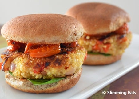 Slimming Eats Roasted Red Pepper and Feta Quinoa Burgers - gluten free, vegetarian, Slimming World and Weight Watchers friendly