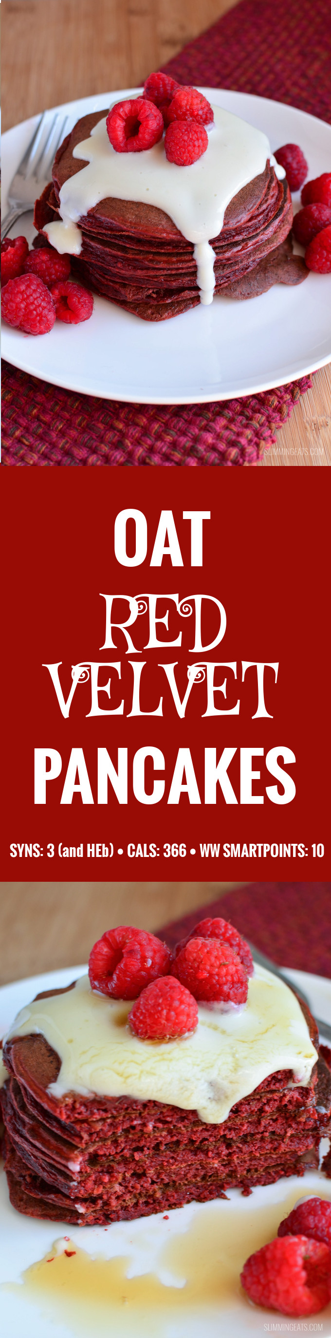 Slimming Eats Red Velvet Pancakes - gluten free, vegetarian, Slimming World and Weight Watchers friendly