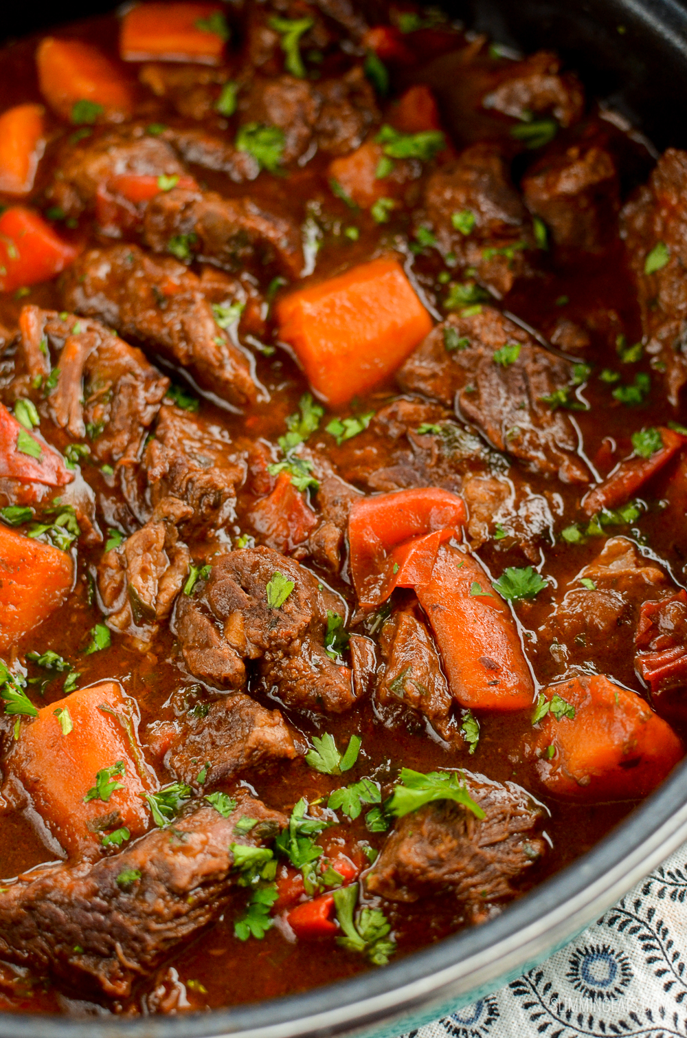 balsamic braised beef in pan