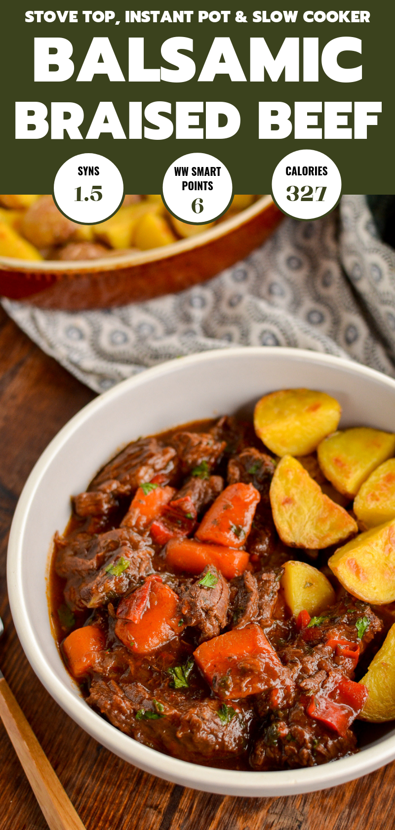grey bowl of balsamic braised beef with Yukon gold roasted potatoes