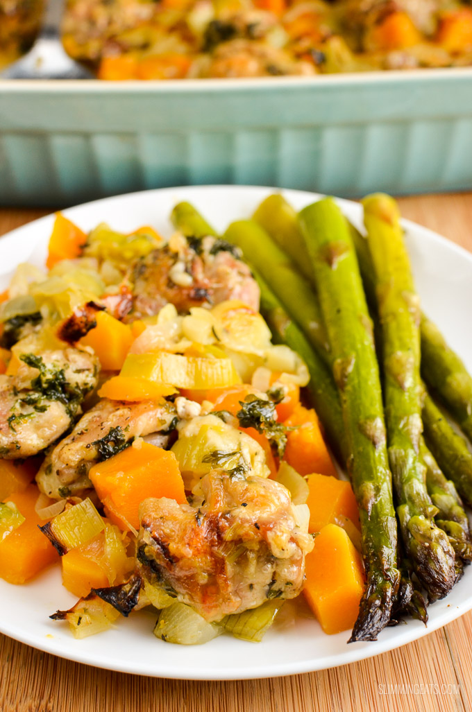Slimming Eats Low Syn Chicken, Leek and Butternut Squash Bake - gluten free, Slimming World and Weight Watchers friendly