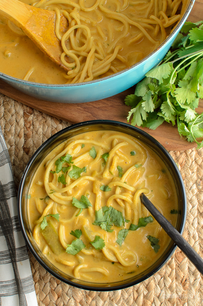 Delicious Spicy Opo Squash Soup with Noodles - perfectly creamy with the delicate flavours of coconut milk. Dairy Free, Vegan, Slimming World and Weight Watchers friendly | www.slimmingeats.com