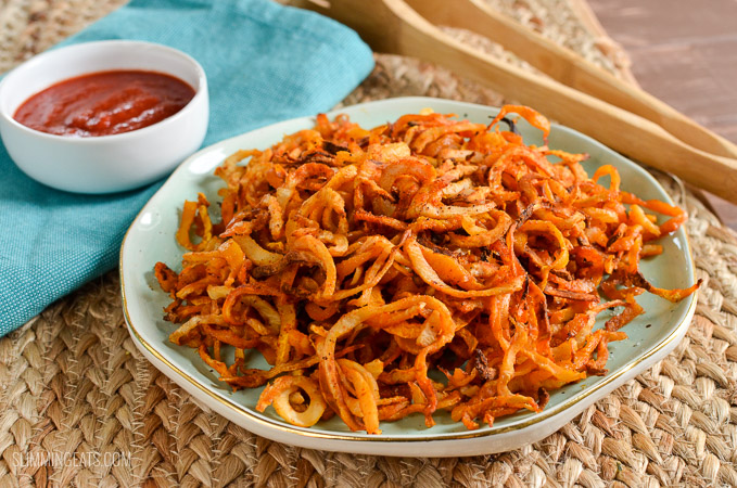 Slimming Eats Syn Free Oven Baked Spiralized Butternut Squash and Celeriac - gluten free, dairy free, vegetarian, Slimming World and Weight Watchers friendly