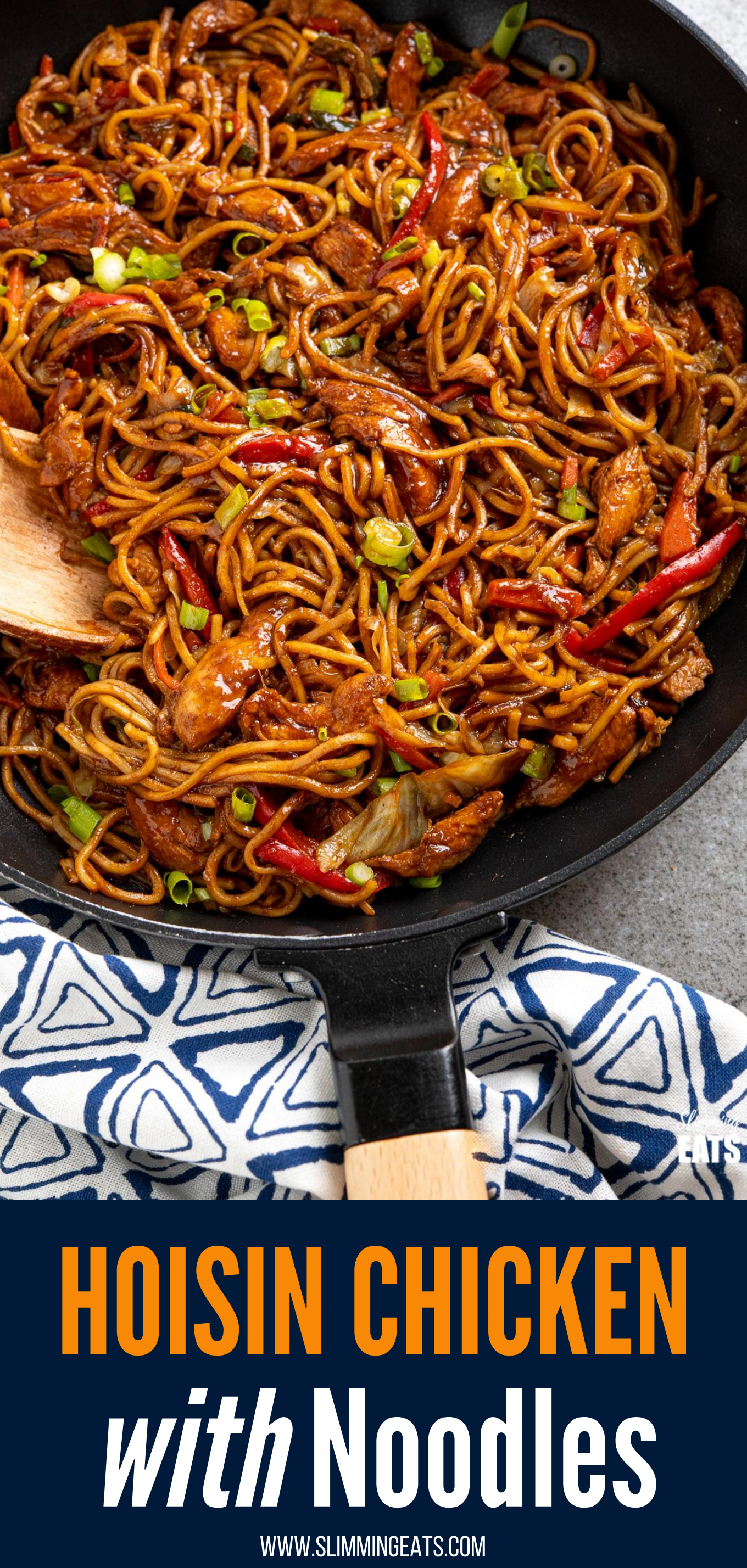 pin image of hoisin chicken with noodles in black frying pan