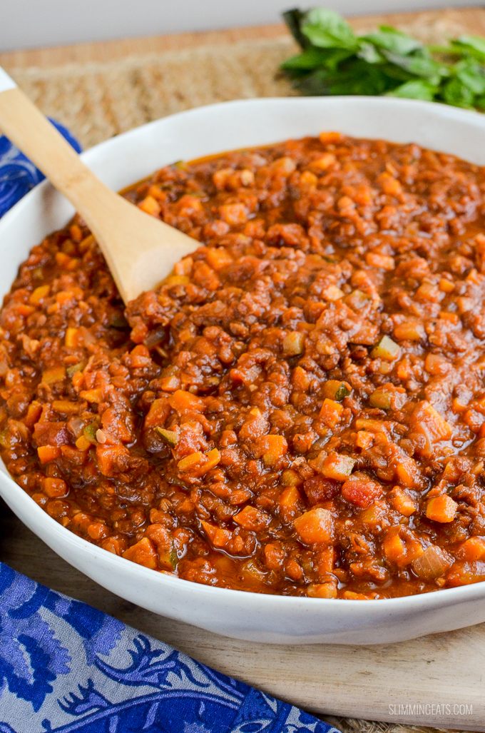 Slimming Eats Syn Free Lentil Bolognese - gluten free, dairy free, vegan, Slimming World and Weight Watchers friendly