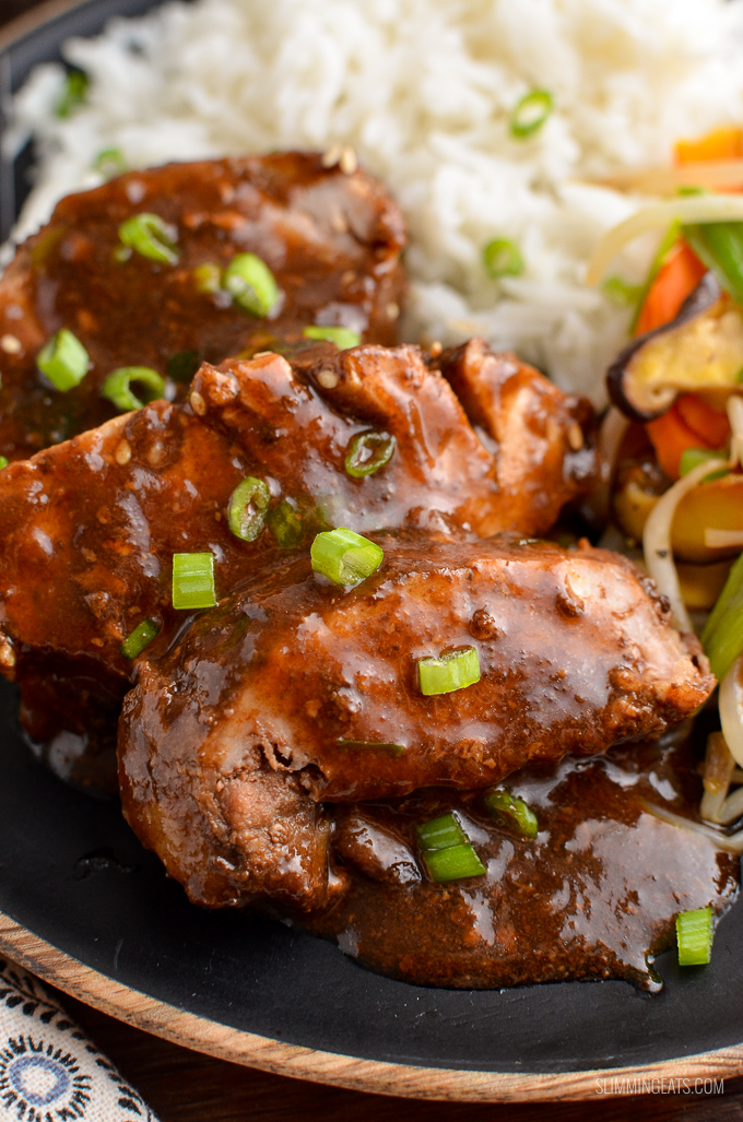 Tender Slow Cooked Teriyaki Pork Tenderloin a easy throw in the slow cooker low syn meal that is perfect for the whole family. | gluten free, dairy free, slow cooker, Slimming World and Weight Watchers friendly
