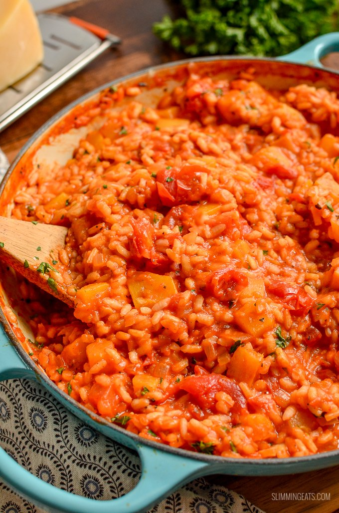 Dig into a bowl of this Delicious Syn Free Roasted Butternut Squash and Tomato Risotto - heavenly | gluten free, dairy free, Slimming World and Weight Watchers friendly