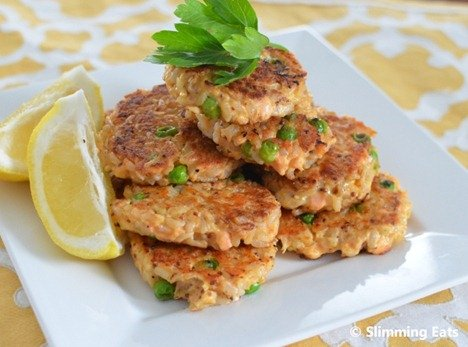 Slimming Eats Mini Salmon and Brown Rice Cakes - gluten free, dairy free, Slimming World and Weight Watchers friendly