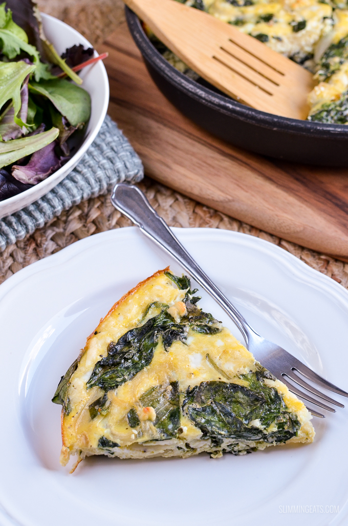 Slimming Eats Spinach and Feta Frittata - gluten free, vegetarian, Slimming World and Weight Watchers friendly