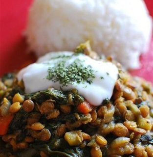 Spicy Lentils and Spinach