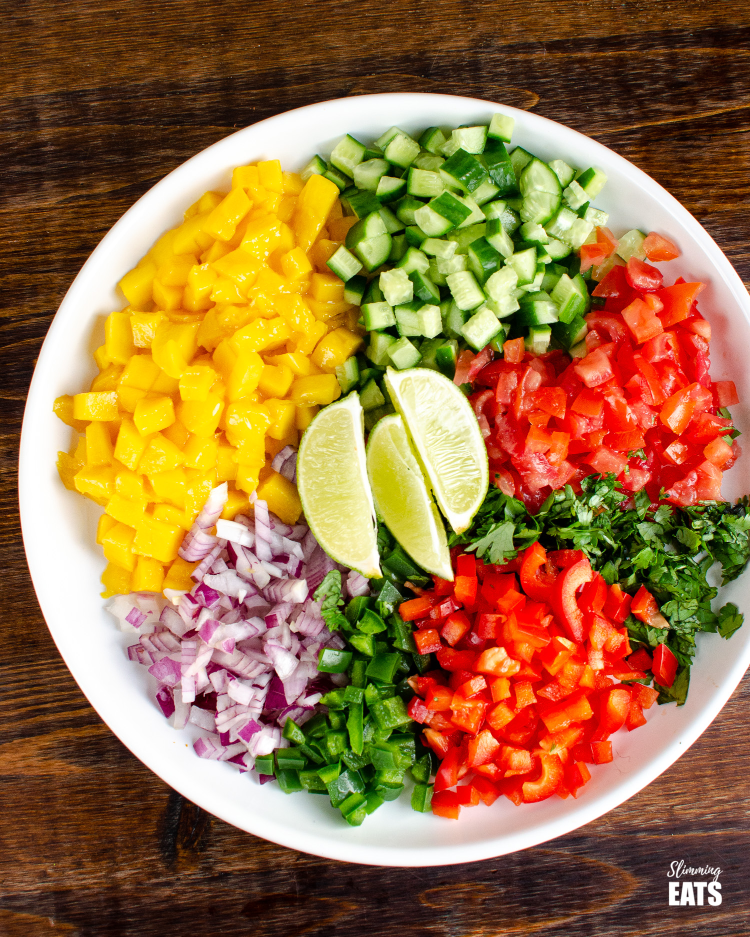 ingredients for mango salsa - mango, onion, red bell pepper, tomatoes, cilantro, lime slices, jalapeno and cucumber in a white bowl