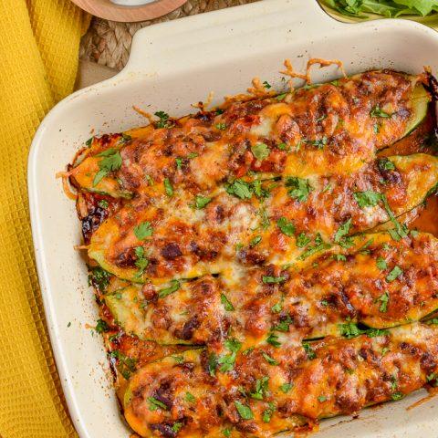 Syn Free Chilli Stuffed Zucchini Boats