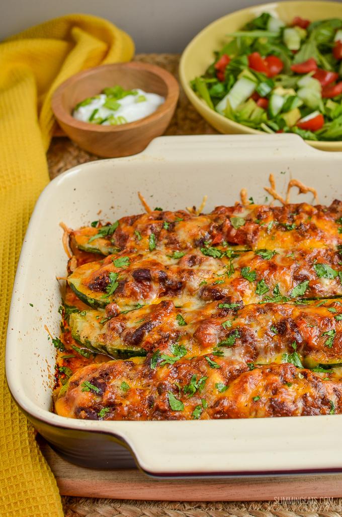 Slimming Eats Syn Free Chilli Stuffed Zucchini Boats - gluten free, vegetarian, Slimming World and Weight Watchers friendly