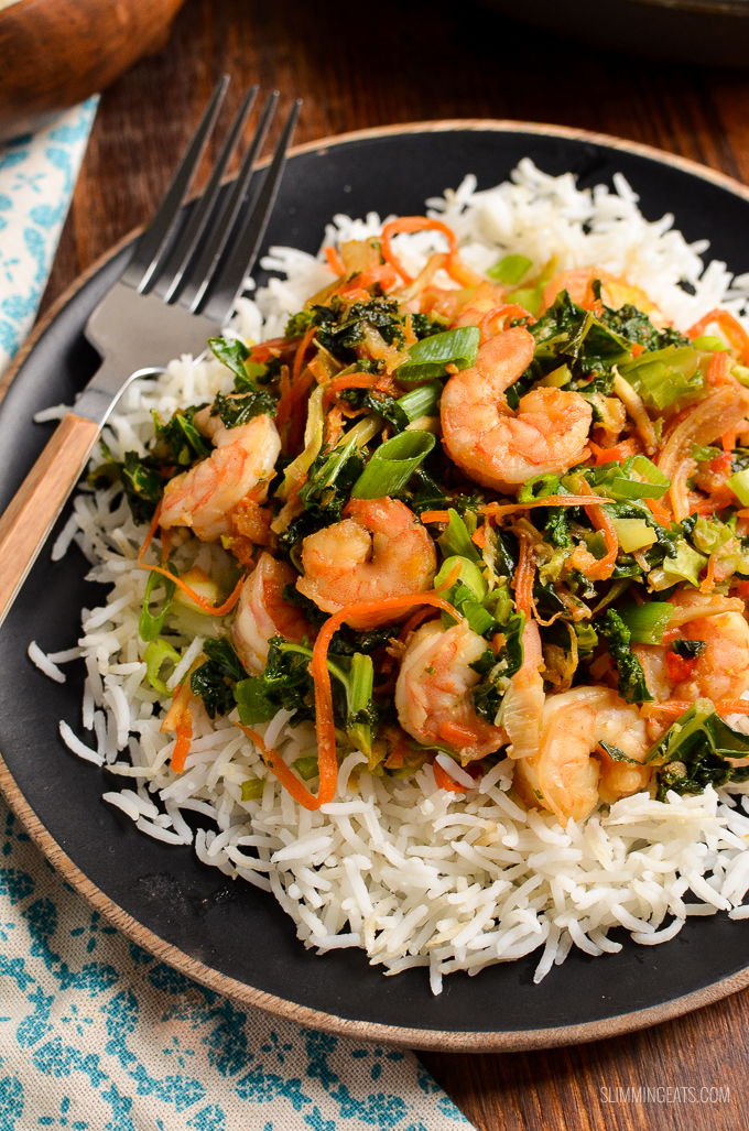 A quick, easy, tasty Fruity Prawn Stir Fry with lovely fresh vegetablesall on the table and ready in less than 20 mins. Gluten Free, Dairy Free, Paleo, Whole30, Slimming World and Weight Watchers friendly