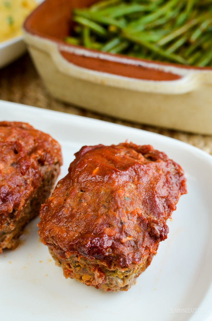Slimming Eats Mini Meatloaves with a Tomato Glaze - dairy free, Slimming World and Weight Watchers friendly