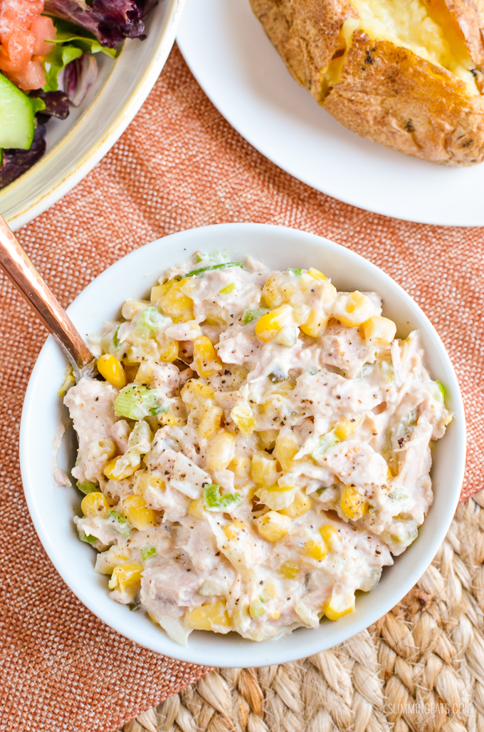 Slimming Eats Low Syn Tuna and Sweetcorn Mayo Salad - gluten free, Slimming World and Weight Watchers friendly