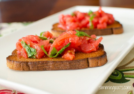 Slimming Eats Bruschetta with Whole Wheat Toast - dairy free, vegetarian, Slimming World (SP) and Weight Watchers friendly