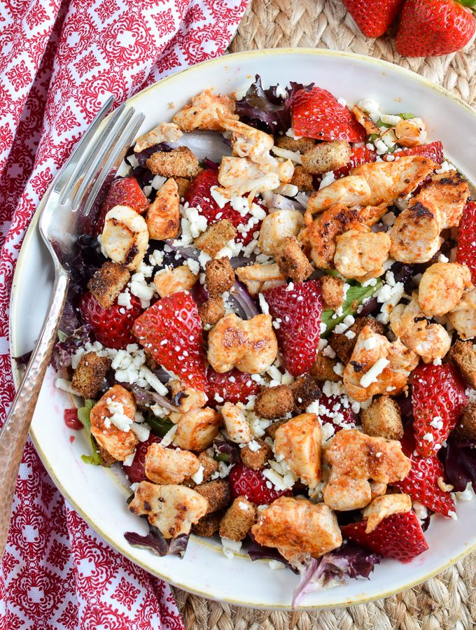 Chicken, Feta and Strawberry Salad